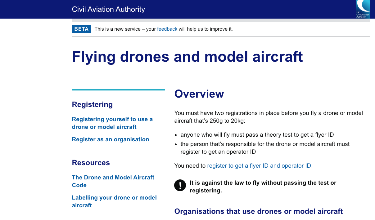 Civil Aviation Authority drone registration website