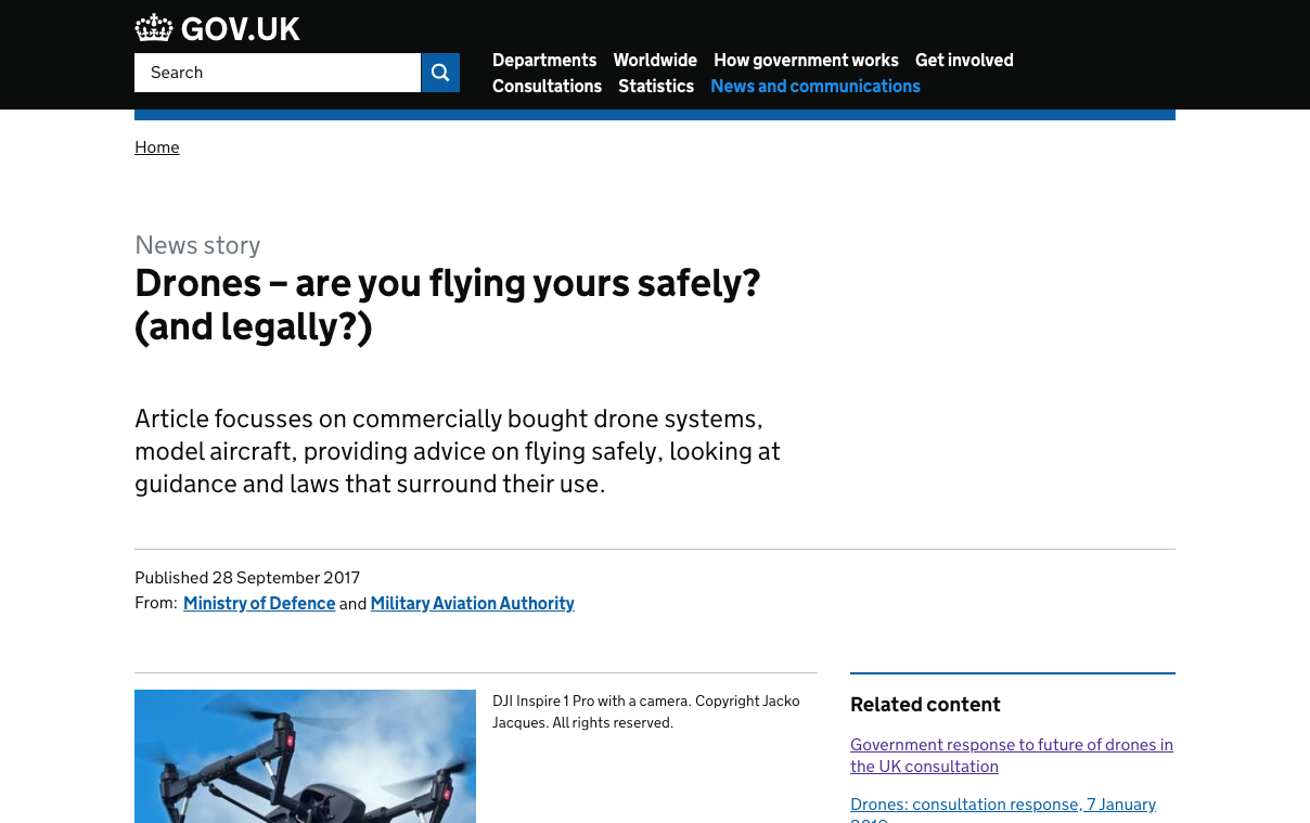 UK Government drone operation guidance website