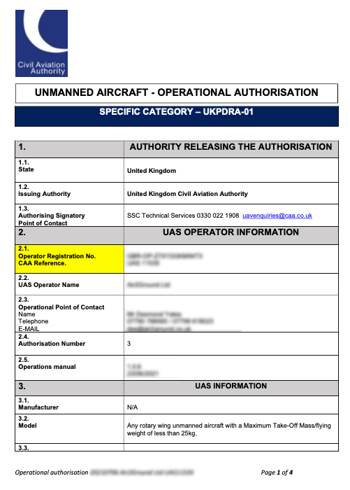 Drone Pilot Information Required